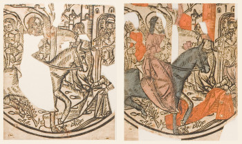 Fig. 5. Colored and uncolored impressions of Christ's Entry to Jerusalem from Christ as the Man of Sorrows (fragments) (ca. 1500, France), color woodcut, fragments approximately 12.5 x 19 cm each. Miriam and Ira D. Wallach Division of Art, New York Public Library. Photo: Denise Stockman. ©The New York Public Library.