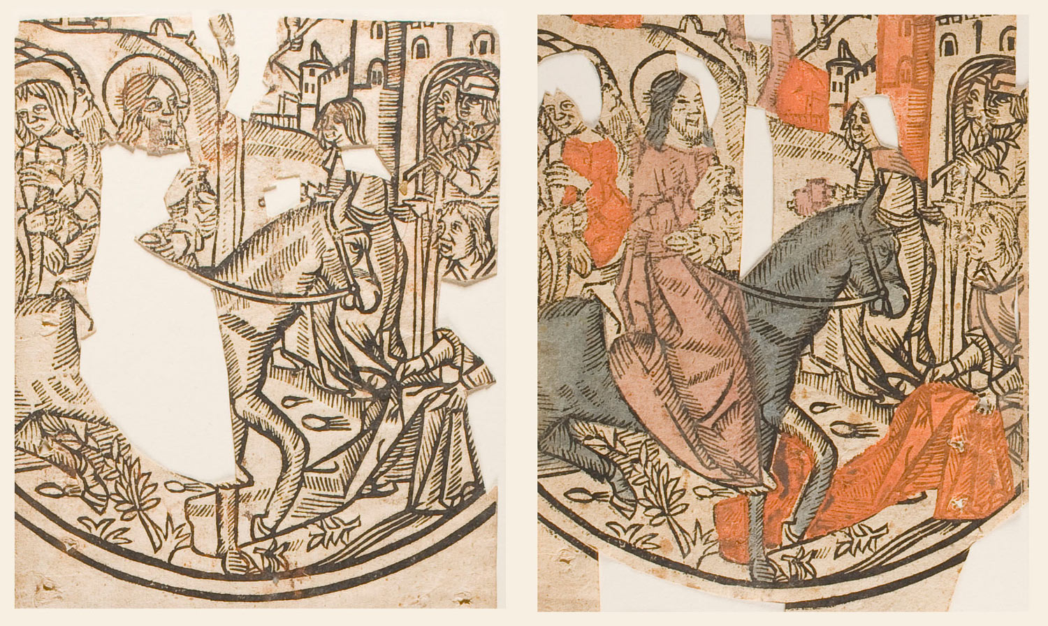 Colored And Uncolored Impressions Of Christs Entry To Jerusalem From Christ As