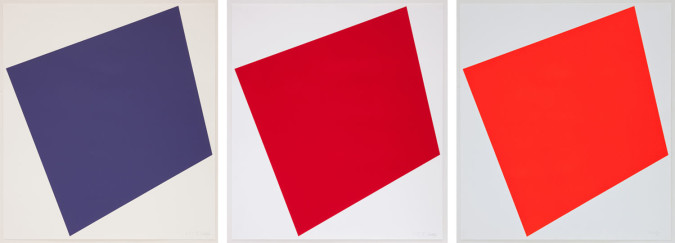 Left: Ellsworth Kelly, Color Trial Proof 3 of Red [deep indigo] (2005), lithograph, 84.5 x 75.9 cm. ©Ellsworth Kelly and Gemini G.E.L., LLC, Los Angeles. Center: Color Trial Proof 1 of Red [cherry red] (2005), lithograph, 84.5 x 75.9 cm. ©Ellsworth Kelly and Gemini G.E.L., LLC, Los Angeles. Right: Trial Proof of Red [red-orange] (2005), lithograph, 84.5 x 75.9 cm. ©Ellsworth Kelly and Gemini G.E.L., LLC, Los Angeles.