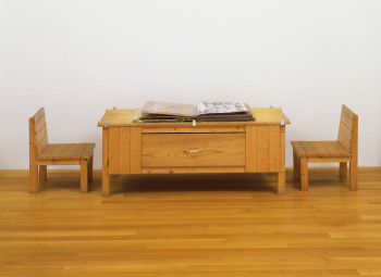 Dieter Roth, Snow (1964/69), artist's book of mixed mediums, with wood table and two wood chairs. The Museum of Modern Art, New York. Committee on Painting and Sculpture Funds. Photo: John Wronn. ©2013 Estate of Dieter Roth.