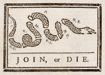 """Benjamin Franklin, Join, or Die (May 9, 1754), woodcut, illustrated in """"The Pennsylvania Gazette,"""" on view at """"News/Prints: Printmaking and the Newspaper"""" at IPCNY, closed October 19. Courtesy International Print Center New York and Yale University Library, New Haven."""