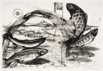 Fig. 1. Munio Makuuchi, On Boy's Day I 'I.D.' with Rocky Mountain Salmon.../...So where's the Salmon? (1985), drypoint printed in black on Arches paper, image 60.96 cm x 90.17 cm; sheet 74.93 cm x 105.41 cm. First state proof, edition unknown. Printed by Andrew Balkin, ACB Editions, Madison, WI. Smith College Museum of Art. Purchased with the Elizabeth Halsey Dock, class of 1933, Fund.