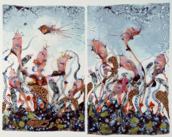 Wangechi Mutu, Funkalicious fruit field (2007), ink, paint, mixed media, plastic pearls, and collage on Mylar; 92 x 106 inches (233.7 x 269.24 cm) overall. Collection of Glenn Scott Wright, London. Image courtesy of Victoria Miro Gallery, London. ©Wangechi Mutu.