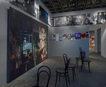 "Installation devoted to Squat Theater collective (detail) in ""Rituals of Rented Island: Object Theater, Loft Performance, and the New Psychodrama—Manhattan, 1970–1980"" (Whitney Museum of American Art, through Feb 2, 2014). Courtesy the Whitney Museum of American Art, New York."