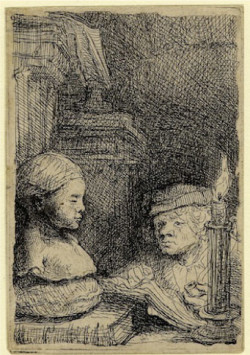 Rembrandt, Man Drawing from a Cast (c. 1641), etching, 9.4 x 6.4 cm. One of Leo Steinberg's favorite images.