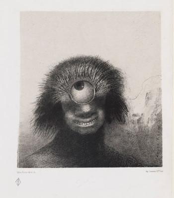 Fig. 3. Odilon Redon, Le polype difforme flottait sur les rivages, sorte de cyclope souriant et hideux (The Misshapen Polyp Floated on the Shores, a Sort of Smiling and Hideous Cyclops), plate 3 from the portfolio Les Origines (1883), lithograph on chine appliqué, 21.3 x 19.9 cm.