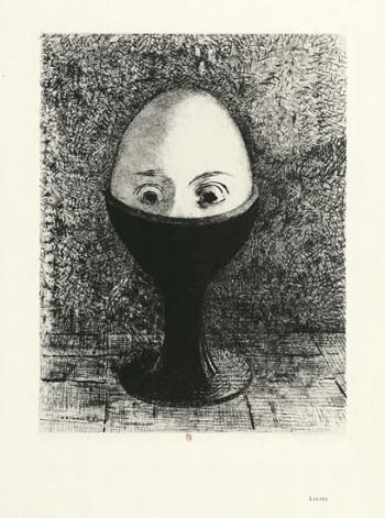 Odilon Redon, l'Oeuf (the Egg) (1885), lithograph, 29.3 x 22.5 cm. Photo: ©BNF.