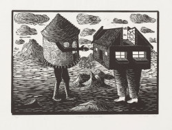 Sandile Goje, Meeting of Two Cultures (1993), linoleum cut, 35 × 49.8 cm. Edition of 100. Printed and published by the artist, Grahamstown, South Africa. The Museum of Modern Art, New York, The Ralph E. Shikes Fund, ©2011 Sandile Goje.