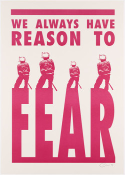 Kudzanai Chiurai, We Always Have Reason to Fear (2008),  one of two lithographed posters, 60.8 × 43 cm. Edition of 250. Printed by Lucas Kutu, published by the artist, Johannesburg. The Museum of Modern Art, New York, acquired through the generosity of the Vascovitz Family, ©2011 Kudzanai Chiurai.