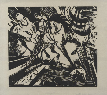 Fig. 1. Franz Marc, Reitschule nach Ridinger (Riding School After Ridinger) (1913), woodcut, composition 26.9 x 29.8 cm. The Museum of Modern Art, New York, gift of Abby Aldrich Rockefeller, 1940.