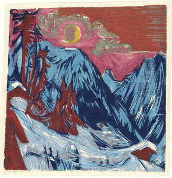 Fig. 2. Ernst Ludwig Kirchner, Wintermondnacht (Winter Moonlit Night) (1919), woodcut, composition 30.5 x 29.5 cm. The Museum of Modern Art, New York, purchase 1949, ©Ingeborg and Dr. Wolfgang Henze-Ketterer, Wichtrach, Bern.