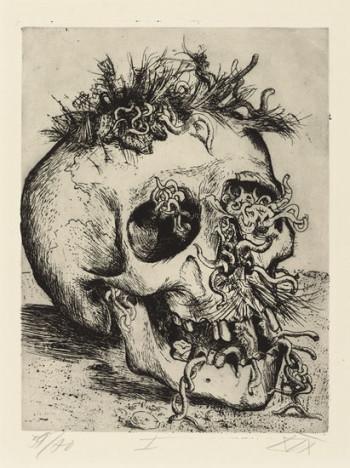 Fig. 5. Otto Dix, Schädel (Skull) from the portfolio Der Krieg (The War) (1924), etching, plate 25.5 x 19.6 cm. The Museum of Modern Art, New York, gift of Abby Aldrich Rockefeller, 1934, ©Otto Dix/ 2010 Artists Rights Society (ARS), New York/ VG Bild-Kunst, Bonn.