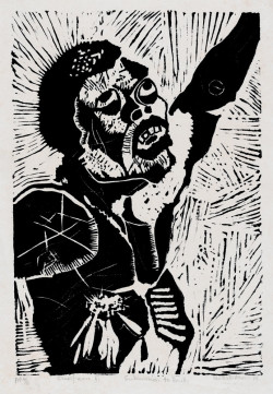 Fig. 1. Charles Nkosi, Submission to Death from Black Crucifixion (1976), one from a series of thirteen linocuts, 39 x 24.7 cm. Published by the artist, Rorke's Drift, KwaZulu-Natal. Gift of the Associates of the Department of Prints and Illustrated Books, 2007, The Museum of Modern Art.