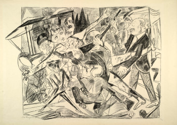 Fig. 2. Max Beckmann, The Martyrdom (plate 4) from Hell (Die Hölle) (1919), one from a portfolio of eleven lithographs, composition (irreg.) 54.7 x 75.2 cm. Edition of 75. Published by J. B. Neumann, Berlin. Larry Aldrich Fund, ©2011 Artists Rights Society (ARS), New York/ VG Bild-Kunst, Bonn.