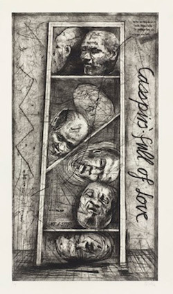 Fig. 4.  William Kentridge, Casspirs Full of Love (1989), drypoint and engraving with roulette, plate 148.8 x 81.3 cm. Edition of 30. Published by the artist, Johannesburg, in conjunction with David Krut Fine Art, London. Marnie Pillsbury Fund and Roxanne H. Frank Fund, 2007, The Museum of Modern Art.
