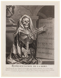 Fig. 10. After Antoine Dieu, Representation de la Mort (18th century), engraving, 28 x 21 cm. The Victoria and Albert Museum, no. 25247.