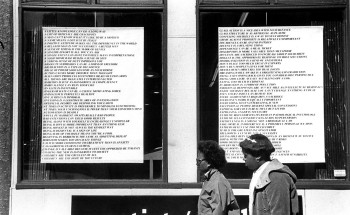 Fig. 2. Jenny Holzer, from Truisms (1977-79), posters installed in windows of Printed Matter, New York, ©2011 Jenny Holzer, member Artist Rights Society (ARS), image courtesy Jenny Holzer/ Art Resource, NY.