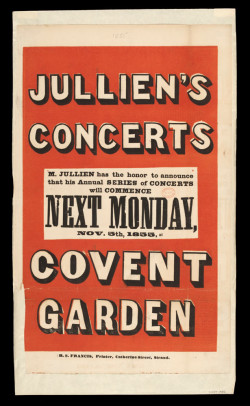 Fig. 7. Poster advertising Jullien's Concerts d'Ete at Royal Opera House, Covent Garden, London (November 1855), 49 x 28.3 cm. Published by R. S. Francis. The Victoria and Albert Museum, no. S.2516-1986.