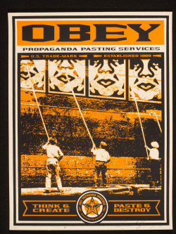 Fig. 9. Shepard Fairey, Obey Propaganda Pasting Services (c. 2000), screenprint: 61 x 45.8 cm. Victoria and Albert Muno. E.364-2006, ©Shepard Fairey.