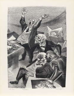 William Gropper, Politico from the portfolio The Capriccios (1953–56), lithograph, image 14 x 10 inches, sheet 16 1/4 x 12 1/4 inches. Image courtesy the Mary and Leigh Block Museum of Art, Northwestern University, Gift of Evelyn Salk in memory of her husband, Erwin A. Salk, 2001.21.43.