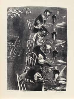 William Gropper, Piece Work from the portfolio The Capriccios (1953–56), lithograph, image 14 x 9 5/8 inches, sheet 16 3/16 x 12 inches. Image courtesy the Mary and Leigh Block Museum of Art, Northwestern University, Gift of Evelyn Salk in memory of her husband, Erwin A. Salk, 2001.21.41.