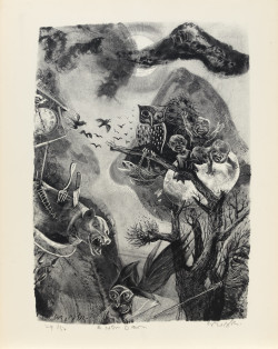 William Gropper, A New Dawn from the portfolio The Capriccios (1953–56), lithograph, image 13 7/8 x 10 inches, sheet 16 1/4 x 12 5/8 inches. Image courtesy the Mary and Leigh Block Museum of Art, Northwestern University, Gift of Evelyn Salk in memory of her husband, Erwin A. Salk, 2001.21.3.