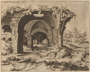 Hieronymus Cock, Ruins of the Colosseum, A Vaulted Corridor, from the series Praecipua aliquot Romanae antiquitatis ruinarum monimenta vivis prospectibus, known as The Large Book of Ruins (1551), etching and engraving, 22.7 x 28.5 cm. Image courtesy National Gallery of Art, Ailsa Mellon Bruce Fund.