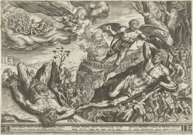 Cornelis Cort after Frans Floris, Hercules and the Pygmies (1562), engraving, 32.2 x 46 cm. Image courtesy the Rijksmuseum, Amsterdam.