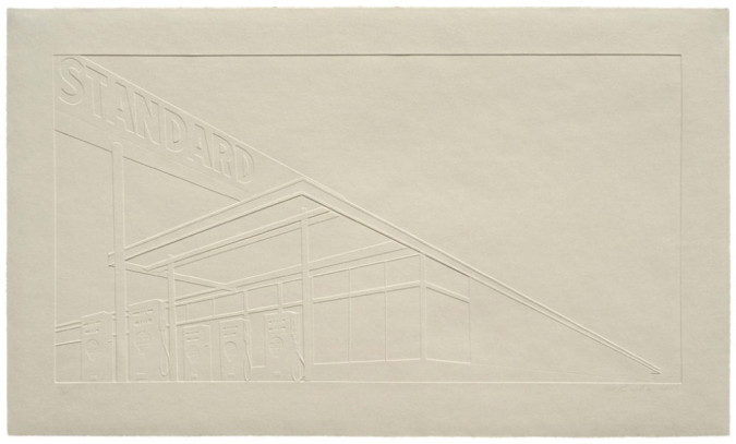 Fig. 5. Edward Ruscha, Ghost Station (2011), Mixografia® print on handmade paper, 30 x 49 inches. Edition of 85. Printed and published by Mixografia®.