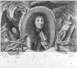 Fig. 1. Robert Nanteuil and Gilles Rousselet, Louis XIV, en buste, au centre d'une composition allégorique (Portrait bust of Louis XIV at the center of an allegorical composition) (1667) and Anton Würth, N-Predella III (2012), engraving, 66.5 x 75.6 cm. Image courtesy C.G. Boerner and the artist.