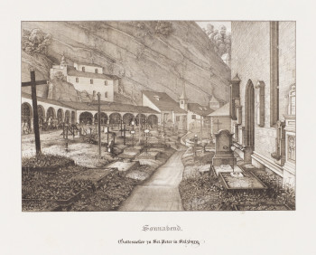 Fig. 1. Ferdinand Olivier, Sonnabend. Gottesacker zu Sct. Peter in Salzburg (Saturday. Graveyard of St. Peter's in Salzburg) from the album Sieben Gegenden aus Salzburg und Berchtesgaden. Geordnet nach den sieben Tagen der Woche, verbunden durch zwei allegorische Blätter (Seven Places in Salzburg and Berchtesgaden, Arranged According to the Seven Days of the Week, United by Two Allegorical Plates) (1818–22), lithograph printed from two stones in black and tan inks, image 19.5 x 28 cm, sheet 37 x 52.5 cm. Courtesy of the Philadelphia Museum of Art.