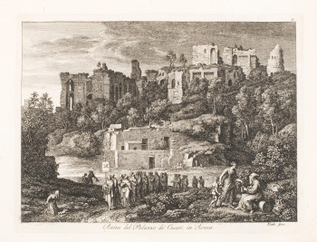 Fig. 4. Joseph Anton Koch, Ruine del Palazzo de' Cesari in Roma (Ruins of the Palace of the Caesars, Rome), plate 8 from a set of 20 Views of Rome (1810), etching, image 17 x 22.3 cm, sheet 33.8 x 46.7 cm. Courtesy of the Philadelphia Museum of Art.