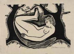 John Bernard Flannagan, Nude (ca. 1923‐24), linocut, image 13.5 x 19.3 cm, sheet (irregular) 16.1 x 22.1 cm. Philadelphia Museum of Art: Purchased with the Lola Downin Peck Fund from the Carl and Laura Zigrosser Collection, 1974.