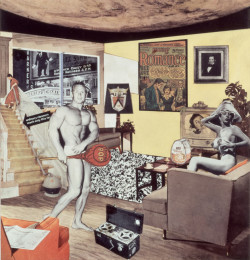 Richard Hamilton, Just what was it that made yesterday's homes so different, so appealing? (1992), color laser print, 26 x 25 cm. Image courtesy Tate Modern. ©Richard Hamilton 2005. All rights reserved, DACS. Reproduction of Hamilton's 1956 collage of the same name.