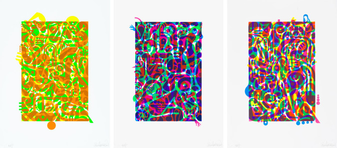 Ryan McGinness, Untitled (Flourescent Women Parts) 1, 2 and 3 (2013).