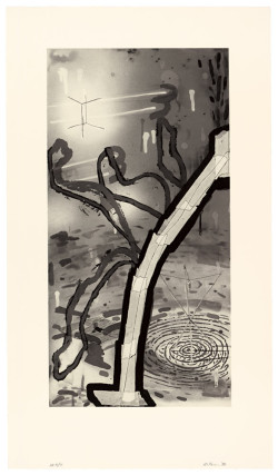 Al Taylor, Untitled (Large Tape) (1988), line etching, step-bitten aquatint, sugar lift aquatint and spit bite aquatint, printed in black from one copper plate, image 67.3 x 34.3 cm, sheet 86.4 x 49.5 cm. Edition of 20. Catalogue Raisonné No. 27. ©2014 The Estate of Al Taylor; courtesy of David Zwirner, New York/London.