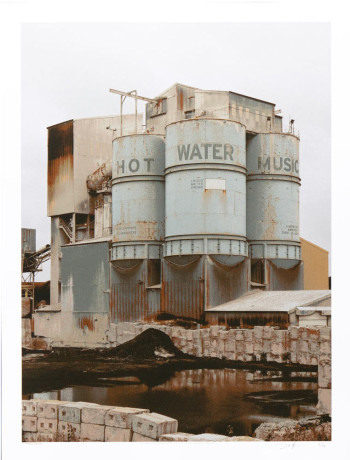 Daniel MacAdam, Hot Water Music (2013), seven-color screenprint poster, 17 1/2 x 23 inches. Edition of 170. Printed and published by Crosshair Silkscreen Printing, Chicago.