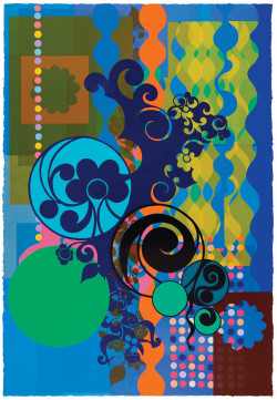 Top: Janet Fish, Cerises (1992), 12-color screenprint, image 28 x 24 inches, sheet 34 x 28 1/2 inches. Edition of 60. Printed and published by Stewart & Stewart, Bloomfield Hills, MI. Photo ©StewartStewart.com 1992. Bottom: Beatriz Milhazes, Figo (Fig) (2007), woodblock and screenprint, 70 x 47 inches. Edition of 30. Printed and published by Durham Press, Durham, PA. Courtesy of the artist and Durham Press.