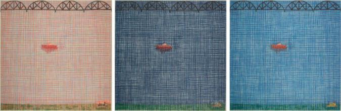 Jennifer Bartlett, Bridge, Boot, Dog (1997), color etching, triptych, each plate 60.4 x 60.5 cm. Published by Pace Prints, New York. Bibliothèque nationale de France, département des Estampes et de la photographie. ©Jennifer Bartlett.