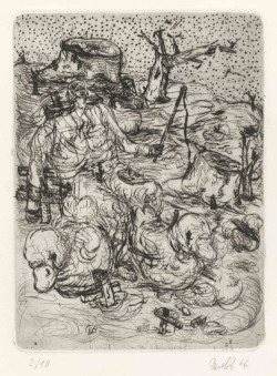 Georg Baselitz, Hirte (Herdsman) (1966), etching, drypoint and aquatint on zinc plate, printed on wove paper, image 31.9 x 23.5 cm, sheet 43.2 x 32.3 cm. Presented to the British Museum by Count Christian Duerckheim. Reproduced by permission of the artist. © Georg Baselitz.