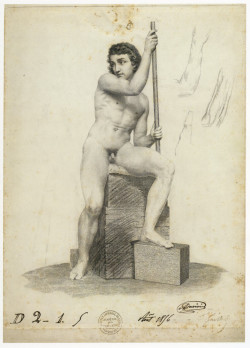 Ferdinand Gaillard, Male Model (1856), engraving with pencil studies (print submitted at Ecole des Beaux-Arts for Grand Prix de Rome in engraving), 40.6 x 30.2 cm. London, British Museum, Department of Prints and Drawings.