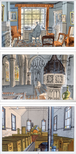 Top to bottom: Edward Bawden, The Vicar; St. Mary the Virgin; The Methodist Chapel (all 1949); color lithographs from six hand-drawn zinc plates, each 9.8 cm x 15.5 cm. ©The Estate of Edward Bawden.