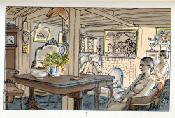 Edward Bawden, Sunday Evening (1949), color lithograph from six hand-drawn zinc plates, 9.8 cm x 15.5 cm. ©The Estate of Edward Bawden.