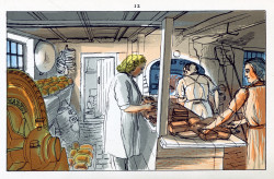 Edward Bawden, The Baker (1949), color lithograph from six hand-drawn zinc plates, 9.8 cm x 15.5 cm. ©The Estate of Edward Bawden.