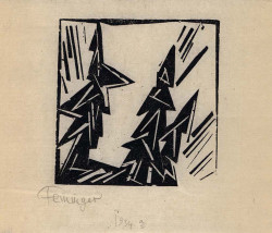 Lyonel Feininger, Drei Tannen (Three Fir Trees) (1919), woodcut on Oriental laid paper, 8.9 x 8.3 cm. Moeller Fine Art, New York.