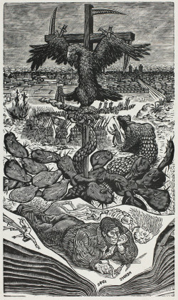 Leopoldo Méndez, What May Come (Mexico, 1945) (1945), wood engraving in black on grayish-ivory China paper, image 30.3 x 17.6 cm, sheet 42.1 x 32.6 cm. The Art Institute of Chicago. ©2014 Artists Rights Society (ARS), New York / SOMAAP, Mexico City.