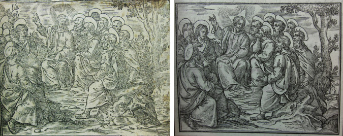 Left: Fig. 2. Anonymous (after Antonio Tempesta), The Sermon on the Mountfrom the Arabic version of the Evangelium sanctum Domini nostri Iesu Christi conscriptum a quatuor Evangelistis Sanctis, idest, Matthaeo, Marco, Luca, et Iohanne (1590/91), woodblock print, 10 x 12.5 cm (Rome: Tipografia Medicea). Houghton Library, Harvard University Library. Right: Fig. 3. Workshop of Leonardo Parasole(?) (after Antonio Tempesta), The Sermon on the Mount, from the interlinear version of the Evangelium (1591), woodblock print, 10 x 12.5 cm. Rome: Tipografia Medicea.