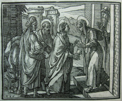 Fig. 5. Leonardo Parasole (after Antonio Tempesta), The Visitation from the interlinear version of the Evangelium (1591), woodblock print, 10 x 12.6 cm. Rome: Tipografia Medicea.