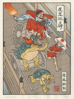 Jed Henry, Rickshaw Cart (2011), color woodblock print, 9 x 7 inches. Mokuhankan Woodblock Prints, Tokyo. Courtesy of the artist.