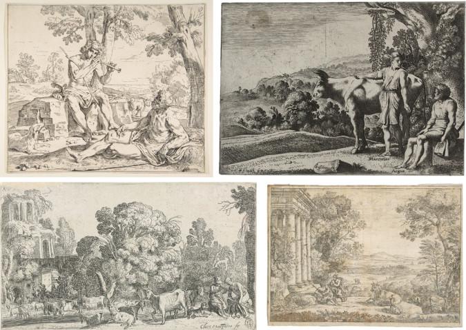 Above left: Fig. 7. Simone Cantarini, Mercury and Argus (ca. 1642), etching, state I/II, 25.2 x 30 cm. Collection of the Metropolitan Museum of Art, New York, Harris Brisbane Dick Fund, 1926. Above right: Fig. 8. Moyses van Wtenbrouck, Mercury and Argus (1621), Etching, state III/III, 13 x 18.5 cm. ©Cabinet d'arts graphiques des Musées d'art et d'histoire, Genève, inv. n° E 2014 -1615. Photo: MAH-CdAG. Below left: Fig. 9. Claes Corneliszoon Moeyaert, Landscape with Mercury and Argus (ca. 1612–1655), etching, 11 x 19 cm. Collection of the Rijksmuseum, Amsterdam. Below right: Fig. 10. Claude Lorrain, Argus et Mercure (Argus and Mercury) (1662), etching, touched in brown ink, counter-proof of state I/III (unique impression), 16 x 22 cm. ©Cabinet d'arts graphiques des Musées d'art et d'histoire, Genève, acquis avec l'aide de la Société des Amis du Musée, Jean Bonna, Pierre Darier, Philippe et Catherine Pulfer, inv. n° E 2011 -0145. Photo: MAH-CdAG.